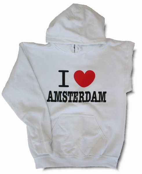 Hooded Sweater I love Amsterdam